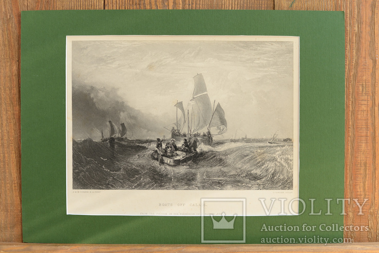 Большая Антикварная гравюра Boats off Calais