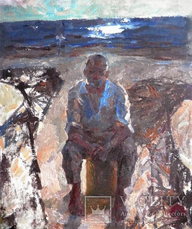 """""""Рыбак"""", (на обратной стороне Ленин с детьми),50/42,5см,Шаврин В.А.(1936-1990)"""