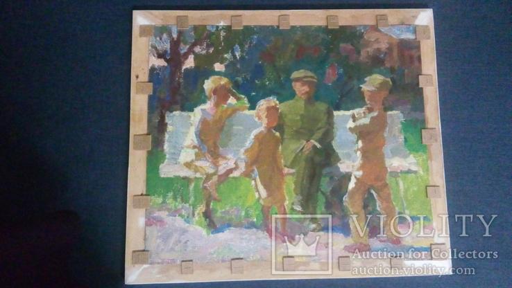 """""""Рыбак"""", (на обратной стороне Ленин с детьми),50/42,5см,Шаврин В.А.(1936-1990), фото №4"""
