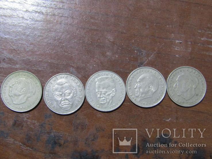 5 монет Німеччини, номінал 2 марки, 73,74,75,85,88 рік, фото №2