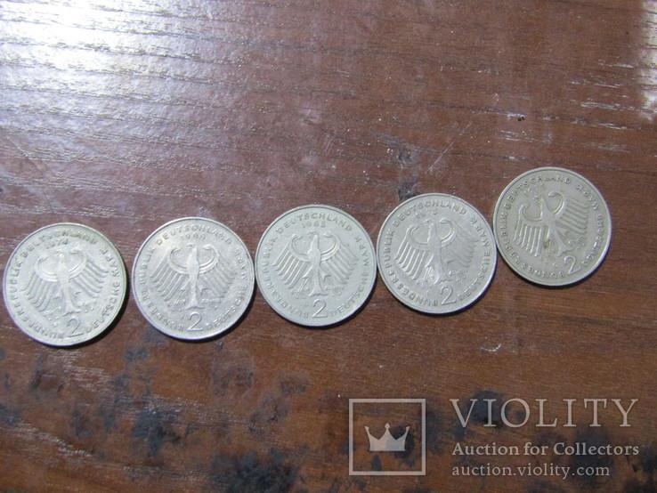 5 монет Німеччини, номінал 2 марки, 73,74,75,85,88 рік, фото №5