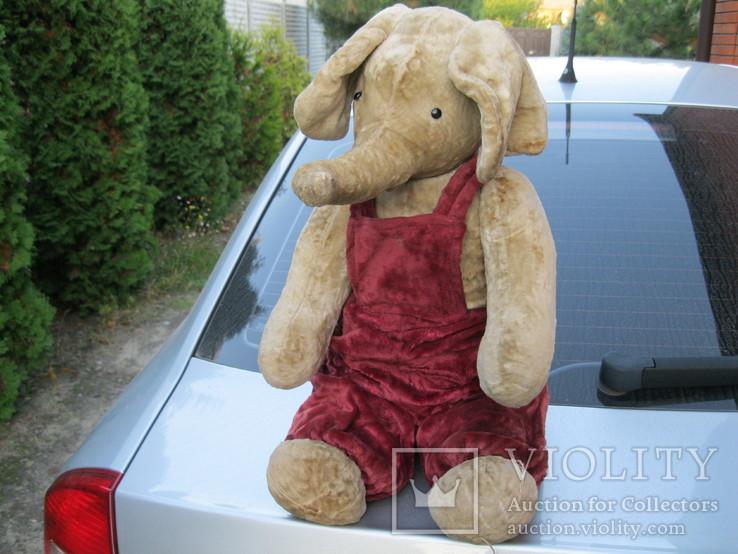Старинный плюшевый слон рост 60 см, фото №6