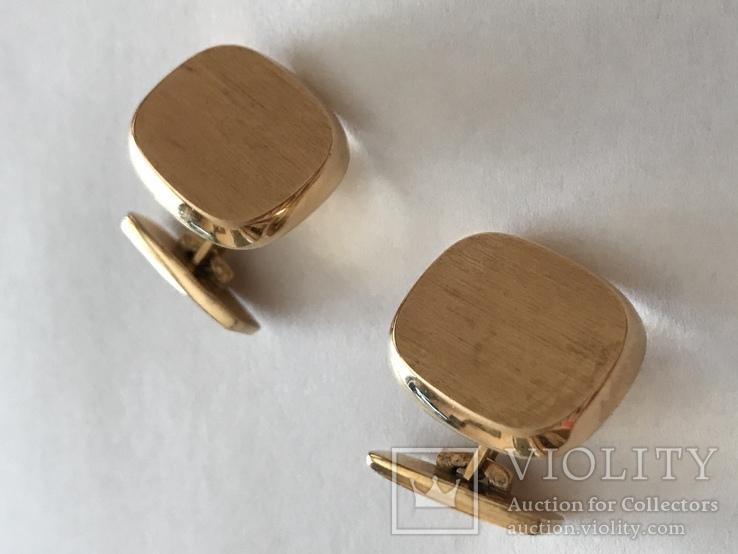 Золотые запонки 585 проба, фото №3