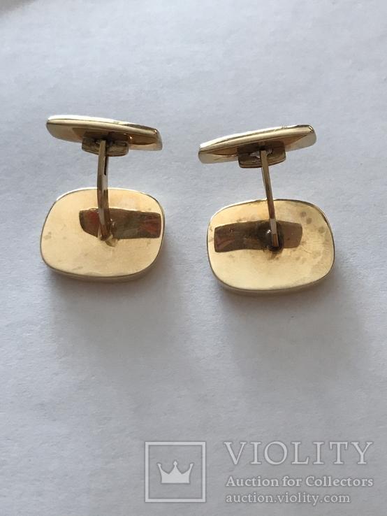 Золотые запонки 585 проба, фото №5
