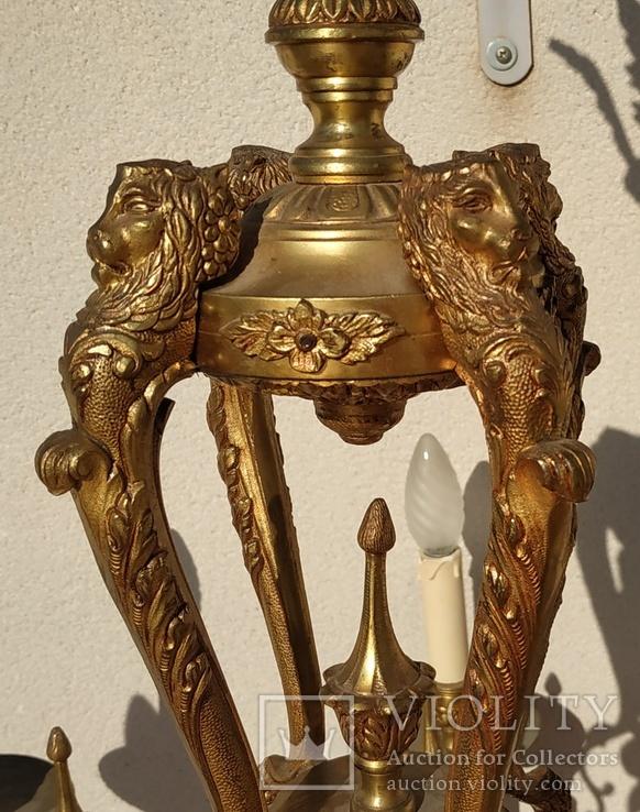 Большая бронзовая люстра 16 кг, фото №4