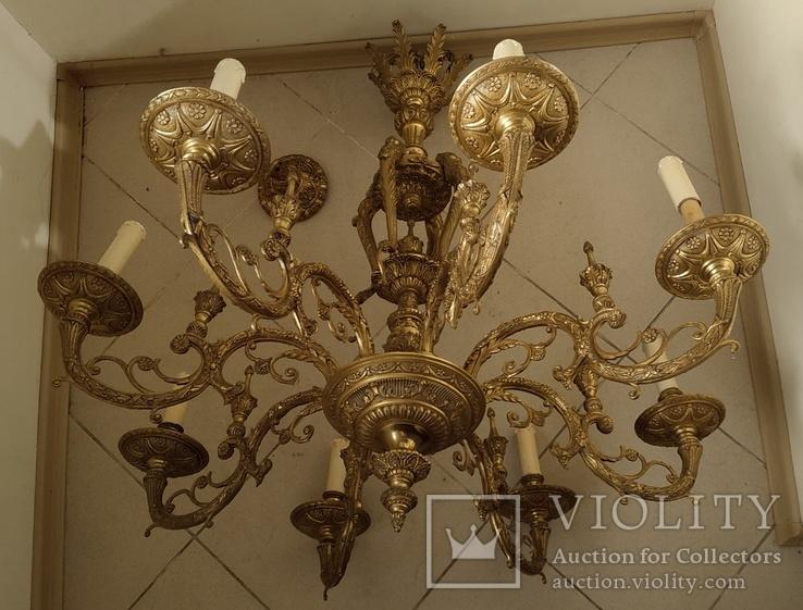 Большая бронзовая люстра 16 кг, фото №6