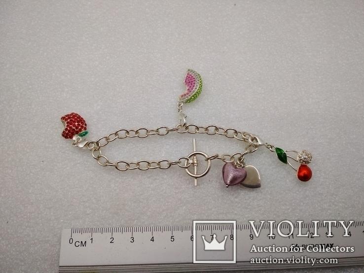 Серебрянный браслет 925 с подвесками посеребрение