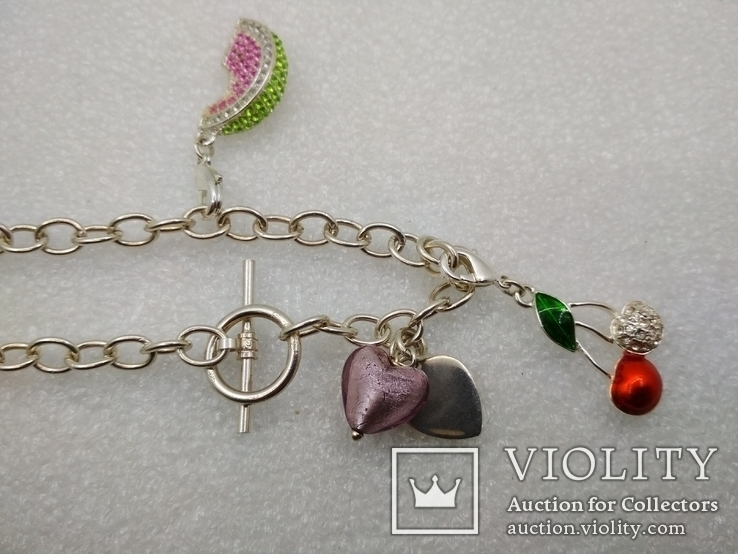 Серебрянный браслет 925 с подвесками посеребрение, фото №3