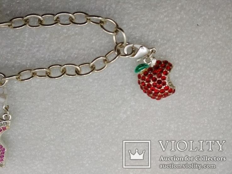 Серебрянный браслет 925 с подвесками посеребрение, фото №5