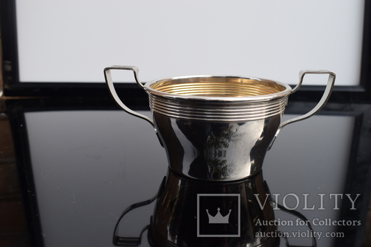 Посеребренные молочник, сахарница. Германия WMF G, Поднос метал в подарок., фото №9