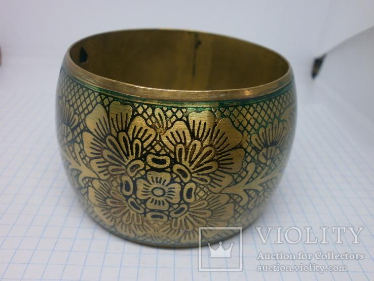 Широкий полый браслет с орнаментом. Латунь, фото №6