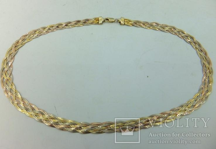 Цепочка серебряная с позолотой (№9), фото №5