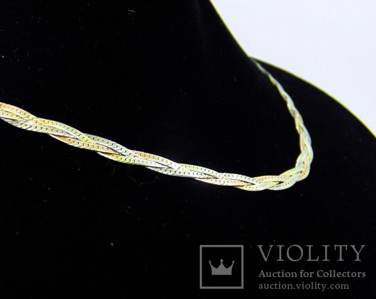 Цепочка серебро + позолота (№10), фото №4