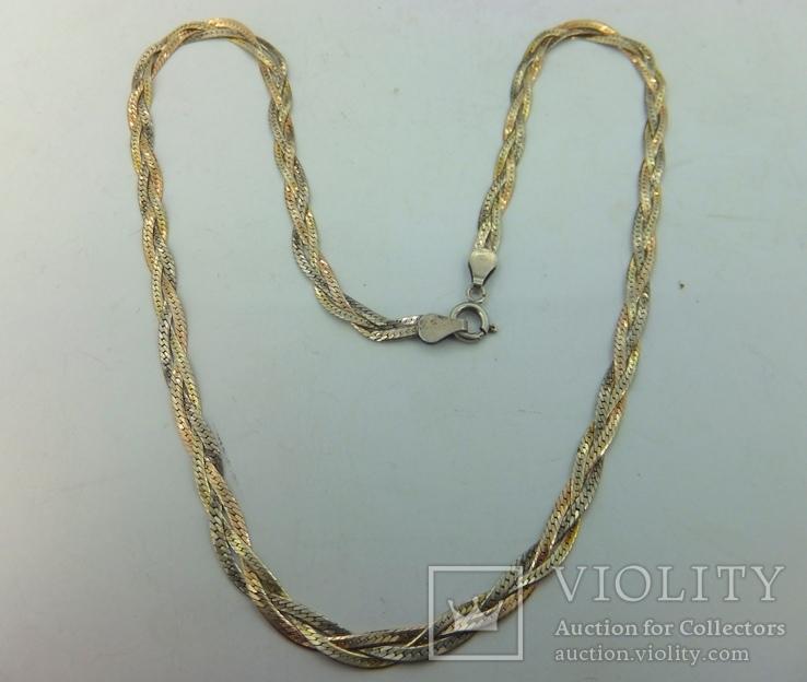 Цепочка серебро + позолота (№10), фото №5