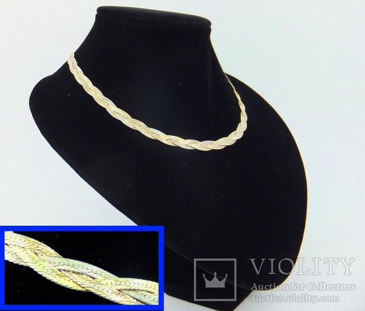 Женская серебряная цепочка + позолота (№20)