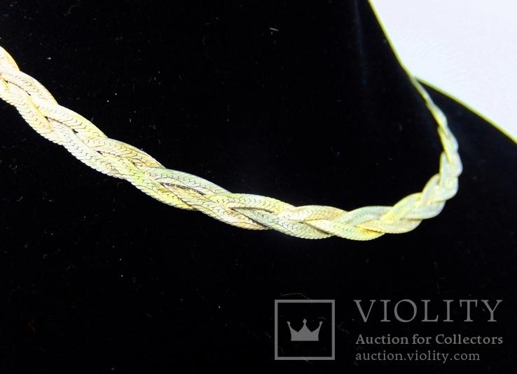 Женская серебряная цепочка + позолота (№20), фото №4