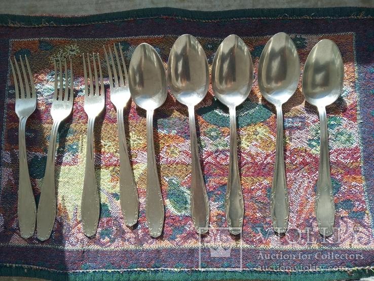 Набор 5 ложек и 4 вилки нержавейка, фото №2