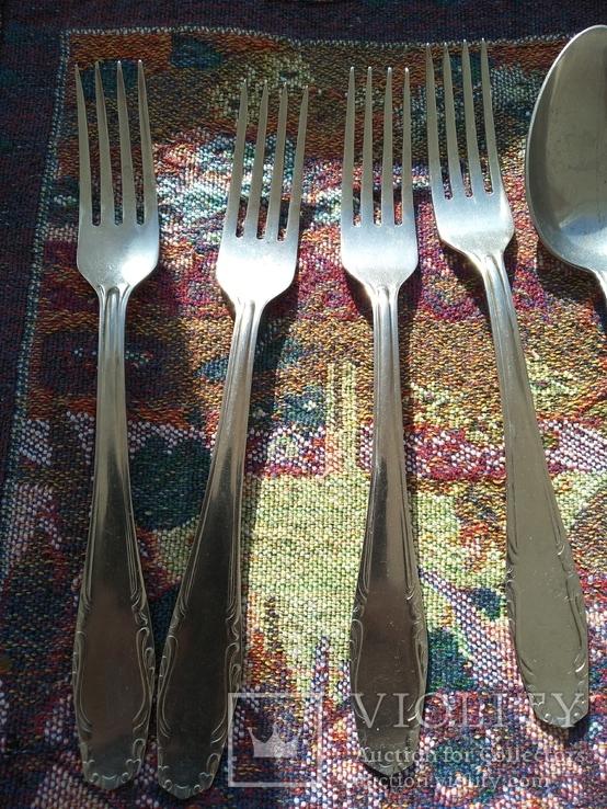 Набор 5 ложек и 4 вилки нержавейка, фото №4