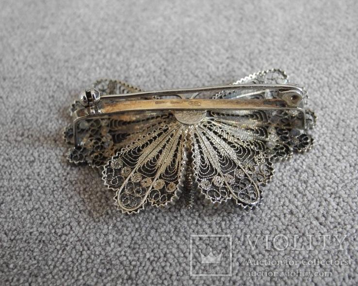 Сканевая брошь бабочка (серебро 925 пр, вес 10 гр), фото №3