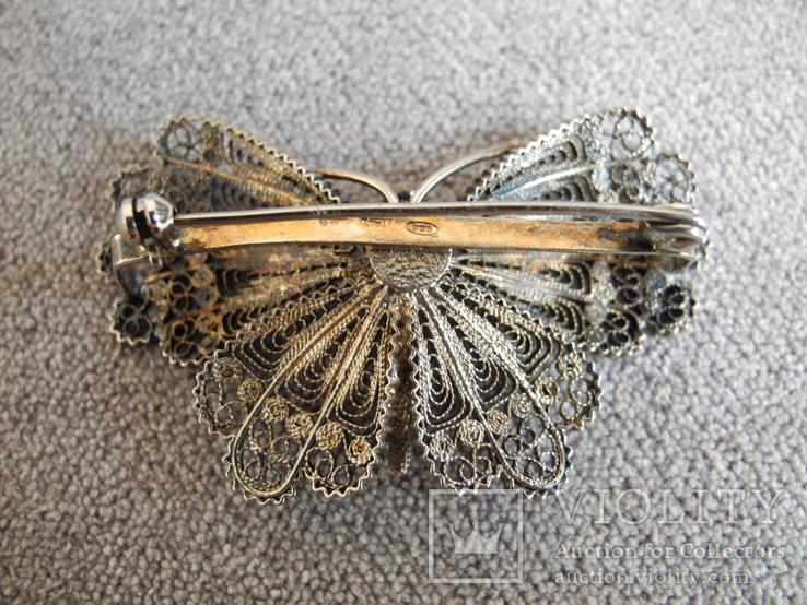 Сканевая брошь бабочка (серебро 925 пр, вес 10 гр), фото №4