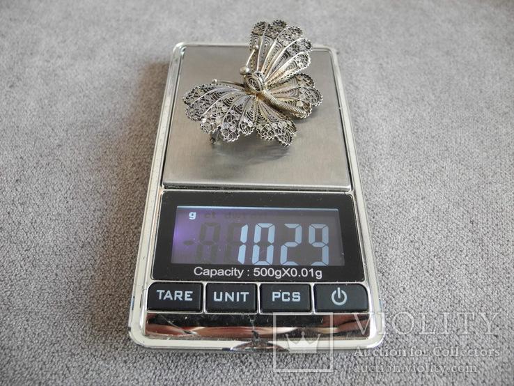 Сканевая брошь бабочка (серебро 925 пр, вес 10 гр), фото №8