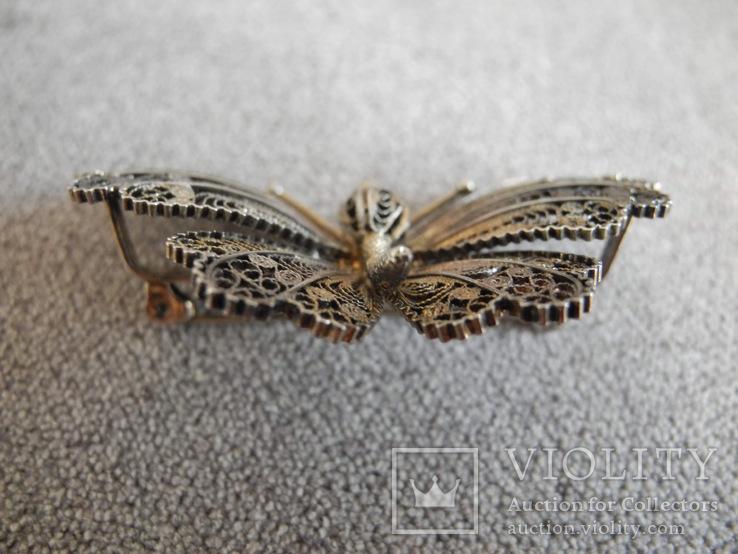 Сканевая брошь бабочка (серебро 925 пр, вес 10 гр), фото №9