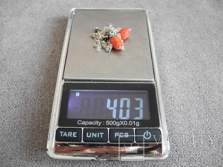 Цепочка с бусинами красного граненого коралла (серебро 925 пр, вес 4 гр), фото №6