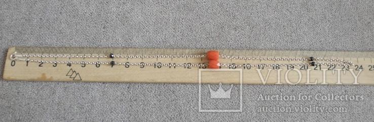 Цепочка с бусинами красного граненого коралла (серебро 925 пр, вес 4 гр), фото №7