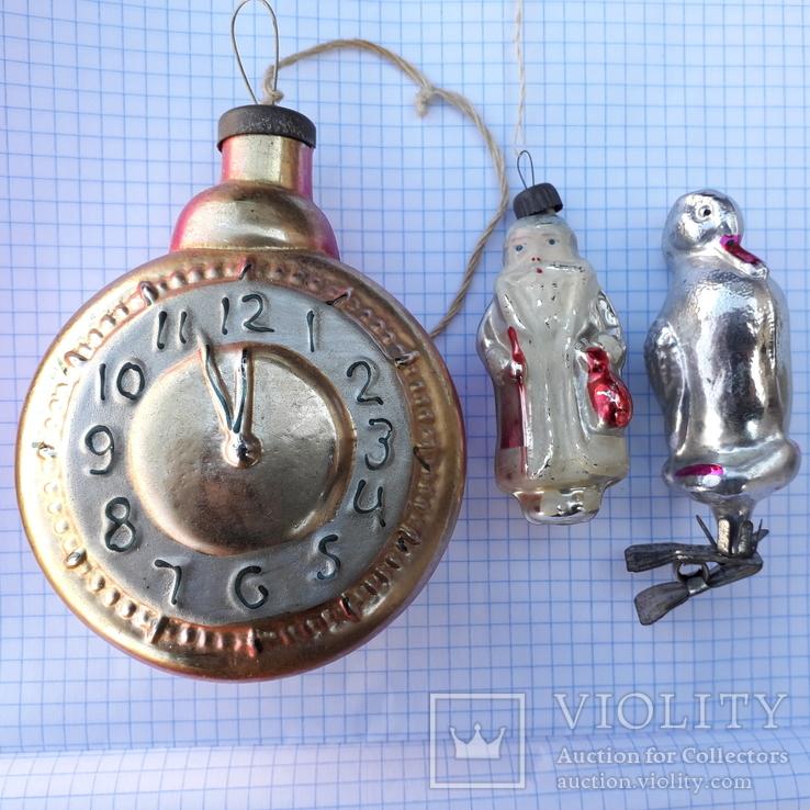 """Елочные игрушки - """" Серая Шейка """" на прищепке, """" Часы """", """" Дед Мороз """""""