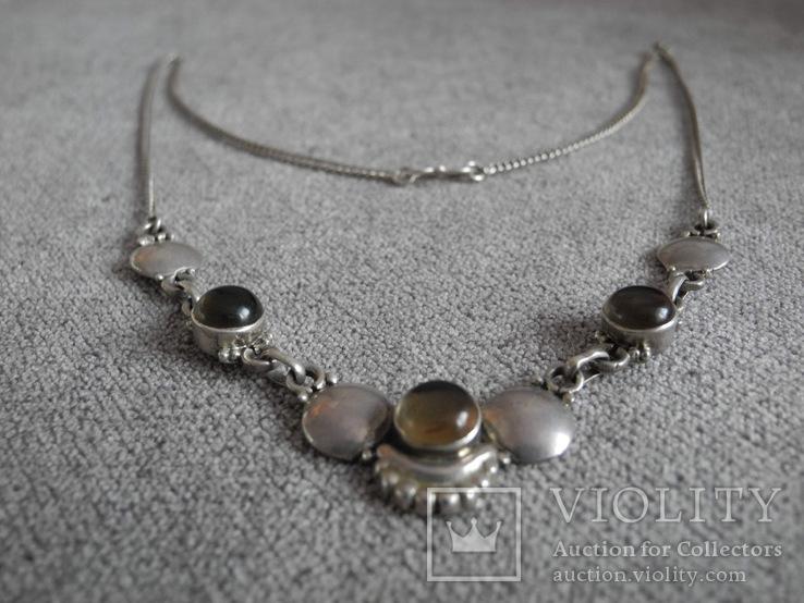 Серебряное ожерелье с камнями ( серебро 800 пр, вес 11,8 гр), фото №8