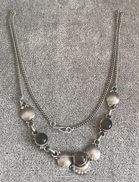 Серебряное ожерелье с камнями ( серебро 800 пр, вес 11,8 гр), фото №2