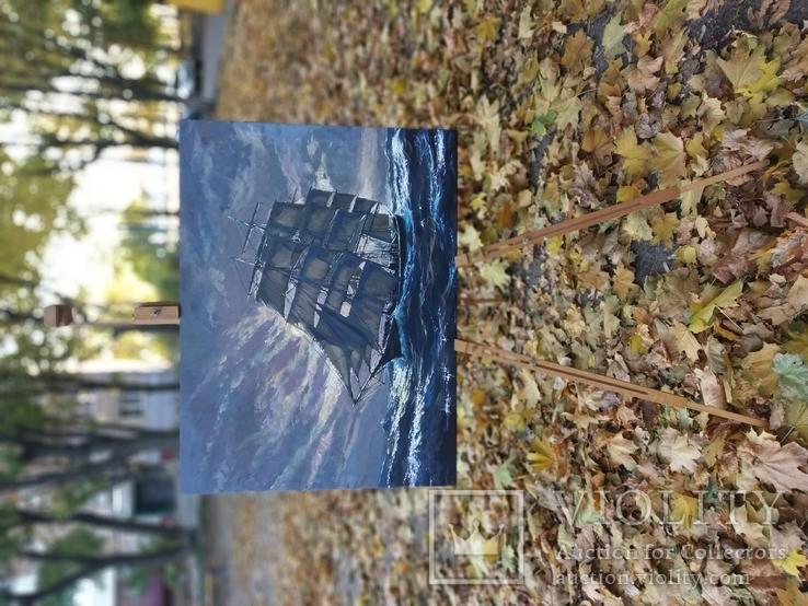 Парусник в свету,2019размер80*55холст, акрил торцы записаны,без рамы, Аксенов К, фото №4
