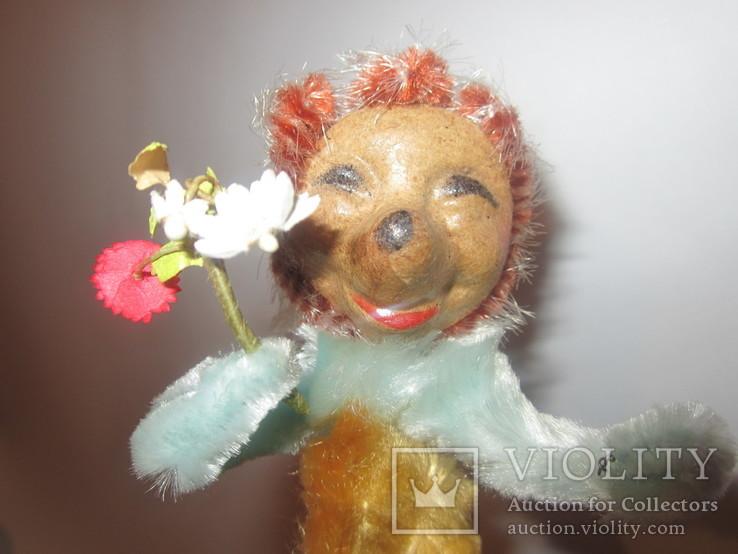 Ёлочная игрушка ёжик ёж с цветами ГДР