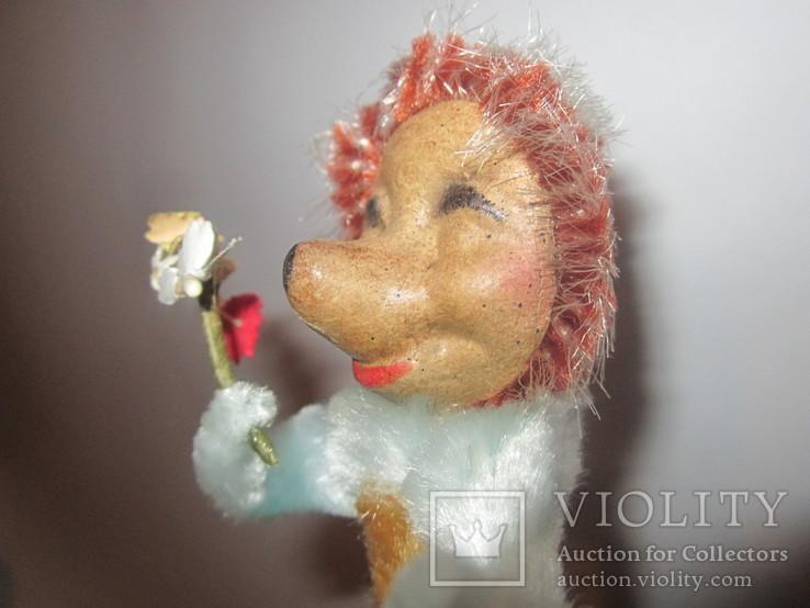 Ёлочная игрушка ёжик ёж с цветами ГДР, фото №5