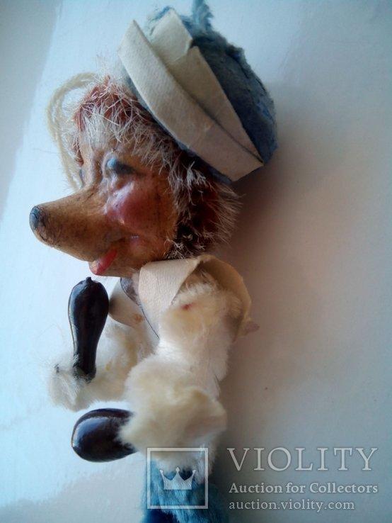Ёлочная игрушка ёж ёжик моряк папье маше ГДР, фото №6