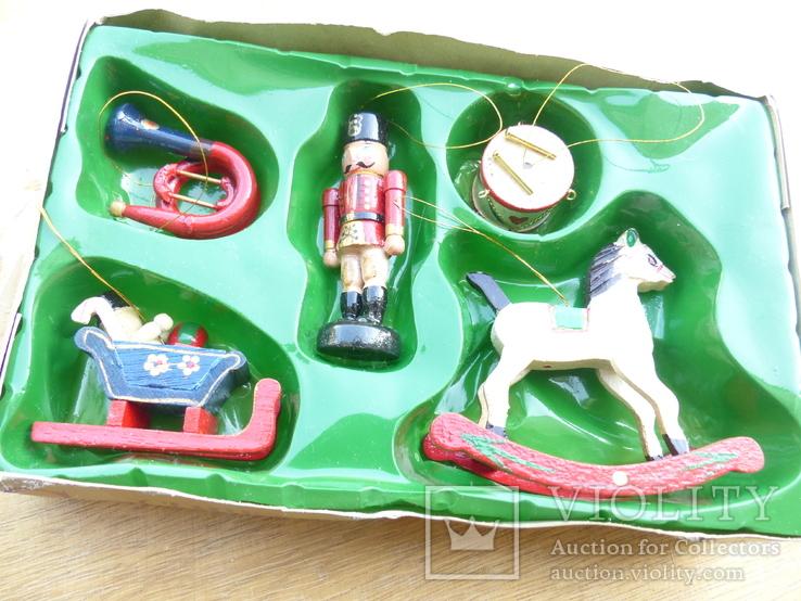 Елочные игрушки  винтаж - дерево - германия