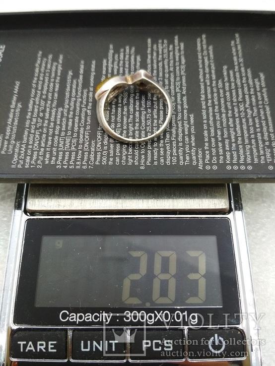 Кольцо серебро янтарь, фото №6