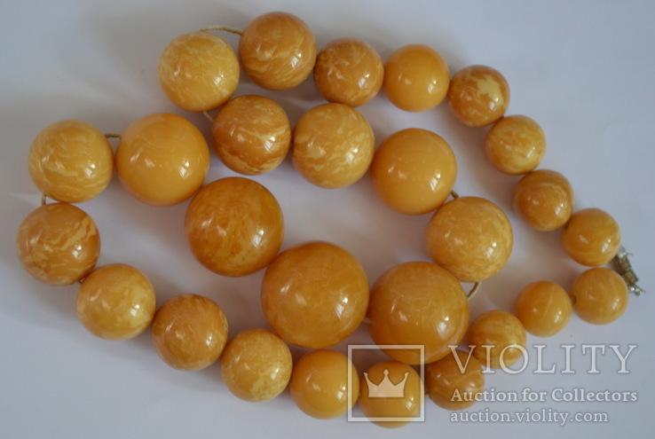 Янтарные бусы 108 грамм., фото №7