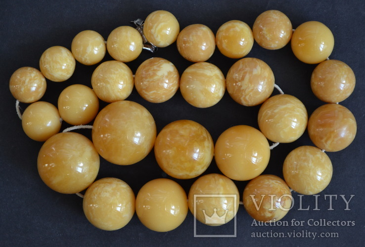 Янтарные бусы 108 грамм., фото №9