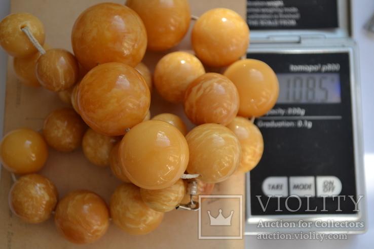 Янтарные бусы 108 грамм., фото №10