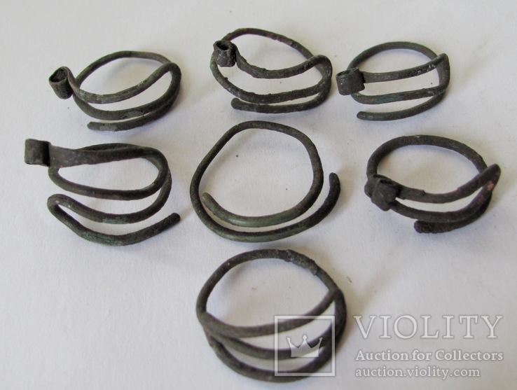 Височные кольца КР, 7шт., бронза, фото №5