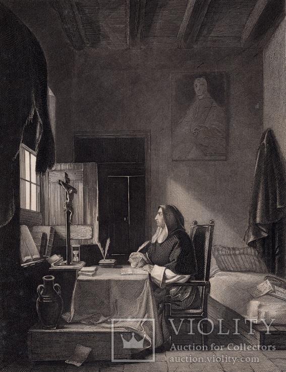 Старинная гравюра. 1860 годa. Савонарола. Пейн. (26,5х19,5см.)., фото №2
