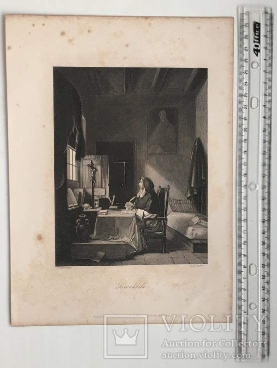 Старинная гравюра. 1860 годa. Савонарола. Пейн. (26,5х19,5см.)., фото №10