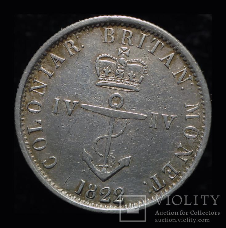 Британская Вест Индия 1/4 доллара 1822 аUnc серебро