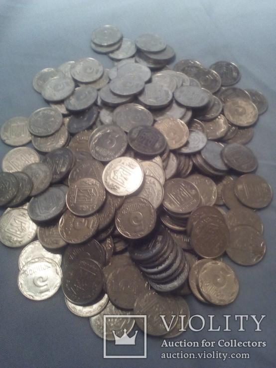 Монеты Украинские 5 копеек 228 шт одним лотом 1992г, фото №5