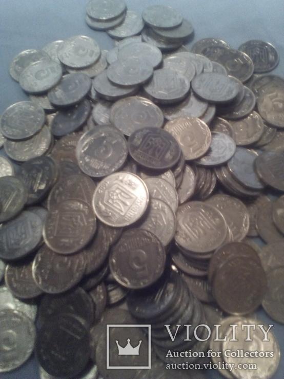 Монеты Украинские 5 копеек 228 шт одним лотом 1992г, фото №6