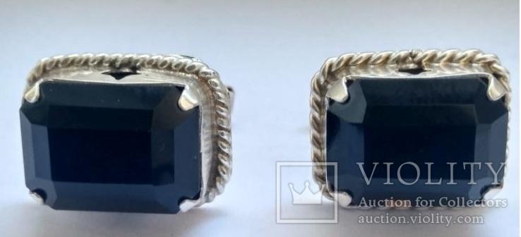 Запонки с камнями, серебро 875 (звезда) ссср