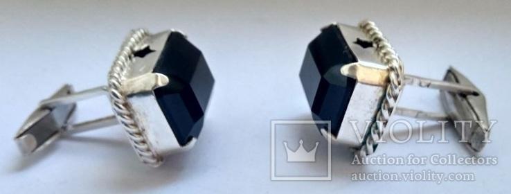 Запонки с камнями, серебро 875 (звезда) ссср, фото №3
