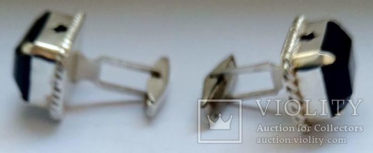 Запонки с камнями, серебро 875 (звезда) ссср, фото №4