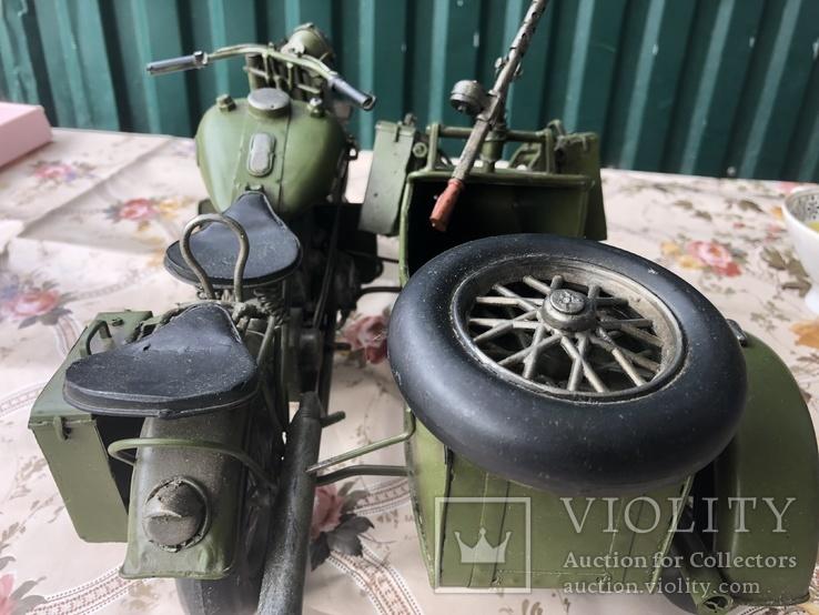 Металлическая модель военного мотоцикла  1939  г, фото №3